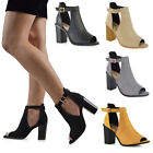 Womens Peep Toe Ankle Strap Chunky Block Heel Ladies Sandals Shoes Size 3-8