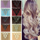 Long Natural Straight Curly Ombre Hair Extension Full Head 8Pc Human Fashion 9b2
