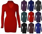 New Women's Ladies Knitted Folded V Neck Ladies Long Jumper Tunic Dress 8-16