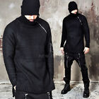 NewStylish mens fashion tops Long diagonal zipper accent black knit sweater