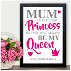 Mothers Day Gifts Mummy Mum Keepsake Quote Frame Print Personalised Gift Present