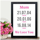 PERSONALISED Mothers Day Gifts Mum Mummy We Love You Dates of Birth Birthdays