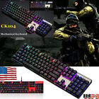 Motospeed Inflictor CK104 Mechanical Wired Keyboard Blue Switch Backlit RGB USPS for sale  USA