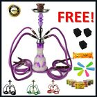 "22"" Medium 4 Hose Shisha al Smoking Glass Hookah  Four Pipe fakher Hooka Flavour"