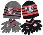 Boys Superman Man Of Steel Beanie Hat and Gloves Set Black Or Grey 52CM Or 54CM