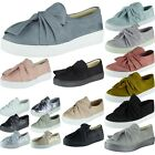 Kyпить New Womens Ladies Trainers Faux Suede Slip On Flat Bow Sneakers Pumps Shoes Size на еВаy.соm