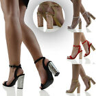 WOMENS ANKLE STRAP CHUNKY HEEL SANDALS LADIES PEEPTOE CHROME PARTY SHOES SIZE