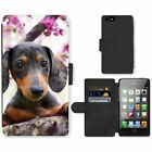Phone Card Slot PU Leather Wallet Case For Apple iPhone Dachshund puppy funny lo