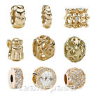 ORIGINAL PANDORA ELEMENT GOLD BEAD CHARMS CLIP NEU SCHMUCK ZIRKONIA BEADS GOLD