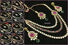 Big Stone Bollywood 3 Strand 4pcs Long Necklace Earring Tikka Set Rakhi SaleGift