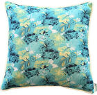 Cushion Cover - Tropical Kombi VW Hibiscus Print teal blue yellow square 60cm 45