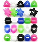 Pair Silicone Flesh Ear Tunnels Plugs - Heart Square Triangle Star Tear Gauges