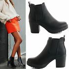 WOMENS LADIES CHELSEA PLATFORM LOW MID HIGH BLOCK HEEL ANKLE BOOTS SHOES SIZE