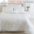 Tiamo Pearl White Ivory Ruched Quilt Cover Set by Platinum Collection QUEEN