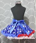 Red White Blue rim Patriotic Star Print Royal Blue Full Pettiskirt Skirt 1-8Year