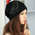 Fashion Lady bowknot sequins lace cap #S Autumn winter Butterfly Lace Turban Hat
