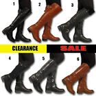 LADIES WOMEN OVER THE KNEE HIGH BOOTS ELASTIC STRETCH PULL ON LOW HEEL ZIP SHOES