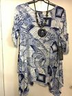 SALOOS NAVY AND WHITE  PRINT TUNIC TOP, TURN BACK SL, SCOOP NECK,AND N/LACE