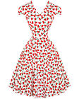 Hearts and Roses (H&R) Retro Rockabilly Pin Up Cherry Blossom Dress Cap Sleeve