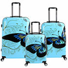 """Unisex 20""""24""""28"""" PC Hard 4 Wheels Spinner Suitcase Blue Butterfly Travel Luggage"""
