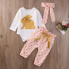 3PCS Newborn Infant Baby Girls Summer Clothes Romper+Pants Leggings Outfit Sets