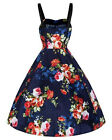 Hearts & Roses London Pin Up Rockabilly Retro Azure Navy Blue Floral Swing Dress