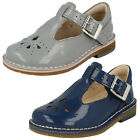 Girls Clarks Yarn Weave Fst Grey Or White Patent Leather First Walking Shoes