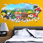 Paw Patrol Gang in Wall Crack Kids Boy Girls Bedroom Decal Art Sticker Gift New