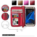 Real Leather Case Removable Wallet Magnetic Card Cover For Samsung Galaxy Phones
