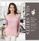 Womens Ladies  Silk  Knit Basic T Shirts Tops Long Sleeve