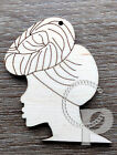 10x Natural wooden earrings making laser cut African woman silhouettes headwraps