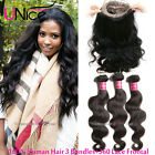 360 Lace Band Frontal With 3 Bundles 8A Peruvian Body Wave Human Hair Extensions