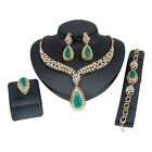 US Women Fashion Wedding Party Gold Plated Necklace Bracelet Ring Earrings Set