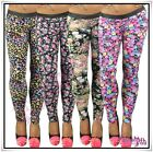 Sexy Women's Floral Leggings Ladies Faux Leather Summer Pants Size 6,8,10,12 UK