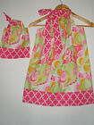 Dolly and me matching dresses pink green floral  pillowcase dress 100% cotton