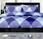8 Pce - ARGYLE Blue Quilt Cover + 200gsm Quilt + FITTED + 4 P/CASES + CUSHION