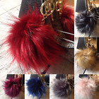 "Extra Large 6"" Faux Fur Ball Key Chain Pompom cell phone Car Pendant Handbag"