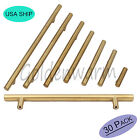30PCS Golden T Bar Kitchen Cabinet Door Handles Drawer Pull Knobs Brushed Brass