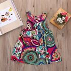 Baby Kids Girl Summer Floral Sleeveless Dress Princess Party Pageant Dresses UK