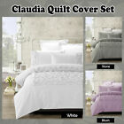CLAUDIA Stone White Blush - Ruched QUILT COVER Set - SINGLE DOUBLE QUEEN KING