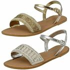 Ladies Leather Collection F0896 Silver or Gold leather Sandals