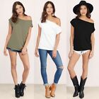 Fashion Women One Off Shoulder Blouse T-shirt Ladies Short Sleeve Loose Tops
