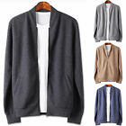 Men Stylish Dandy Solid Zipup Casual Cardigan Sweater Jumper Blazer Top E002 S/M