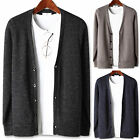 Mens Fashion Ribbed Stich Basic Cardigan Sweater Jumper Blazer Jacket Top E064