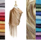 Women's Metallic Fishnet Fringe Scarf Shawl Wrap Party Wedding Shimmer Glitter