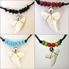 REAL TIGER SHARK TOOTH PENDANT CORD NECKLACE BLUE BEADS MEN SURFER BOY BEACH NEW