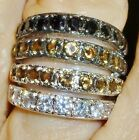 Band Ring Tapered -Silvertone- Rhodium Plated-4 Rows of CZ's-Size Selectable