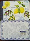 """LEMONS  AND OLIVES REVERSIBLE Plastic  TABLE Placemats  17""""x11"""" Sets of 4 OR 6"""