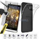 Ultra-Thin TPU Soft Back Case + 9H Tempered Glass Protector Film For HTC