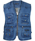 Men's Body Warmer Waistcoat Safari Gilet Denim Jacket For Fishing Hunting Hiking